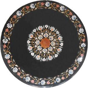 """30"""" Rund Tischplatte Pietra Dura Kunst Steine Handmade Inlay Art Dekor"""