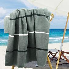 Ramesses Cotton Jacquard Beach Towel, Luxury Extra Large 180x100cm, Charcoal