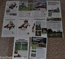 1966-74 Gravely advertisements x10, GRAVELY Lawn Tractors, mowers, convertible