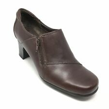 Women's Clarks 83650 Clogs Booties Shoes Size 6M Brown Leather Side Zip Up L13