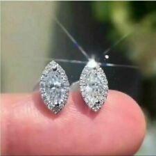 2Ct Marquise Cut Sparkle VVS1/D Diamond Stud Earrings 14K White Gold Finish
