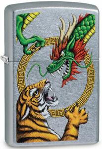 "Zippo Lighter ""Chinese Dragon Design"" No 29837 - New on street chrome finish"
