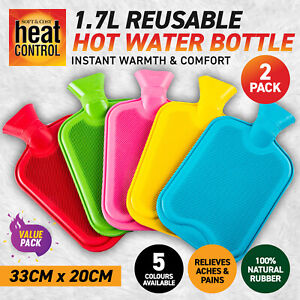 2PK Hot Water Bottle Bright Colours Instant Warmth & Comfort Aches Pains 1.7L