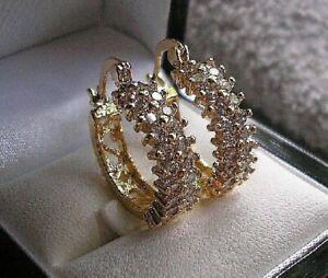 GENUINE 9ct Gold Hoop Earrings gf, White Topaz Hoops, LAST FEW LEFT NOW! ref 23