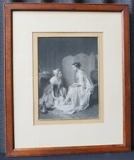 Fine Antique Engraving Original Frame Lady & Maid