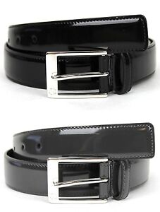 New Gucci Mens Patent Leather Belt with GG Detail on Square Buckle 345658 DKE0N