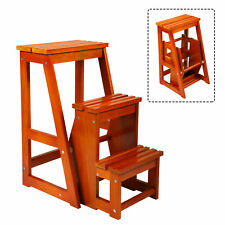 Multi-Purpose Step Stool, w/ Built-in Folding Wood Ladder , Used as Plant Stand