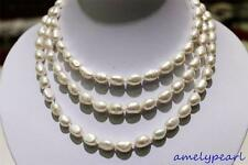 long  freshwater pearl necklace white Baroque 9x11mm 120cm metal clasp