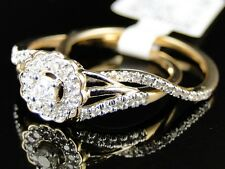 Yellow Gold Ladies Round Cut Diamond Engagement Wedding Bridal Ring Set 1/4 Ct
