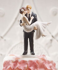 Swept Up in His Arms Romantic Cake Topper Custom Hair / Shoe Colors Available