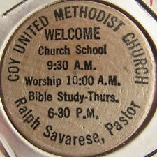 Coy United Methodist Church Preston, MS Wooden Nickel - Token Mississippi
