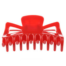 """Plastic Red Spring Loaded 18 Teeth Barrette Hair Claw Clamp 4.5"""" Long for Woman"""