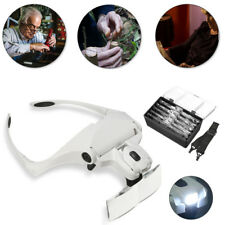 Headband Headset Magnifier Magnifying Glass Loupe Glasses With LED Light +5 Lens