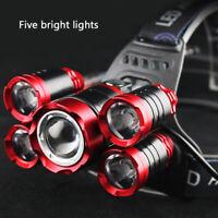 Super-bright 100000LM 5 X XM-L T6 LED Headlamp Headlight Flashlight Head Torch Z