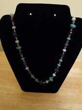 "of Blue Beaded Necklace Chaps 32"" Pretty Shades"