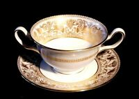 Beautiful Wedgwood Florentine Gold Cream soup Bowl And Saucer