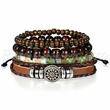 4pcs Men's Womens Fashion Retro Leather Sunflower Buddha Beads Bracelet Cuff Set