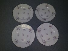"4 Beautiful Mikasa Fine China Violetta 6 1/2"" Bread-Dessert Plates Purple Lot C"