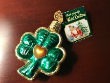 Old World Christmas ornament IRISH SHAMROCK Ireland lucky St. Pat glass NWT
