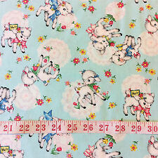 RPFCHE04A Japanese Vintage Style Lamb Sheep Floral Retro Cotton Quilt Fabric