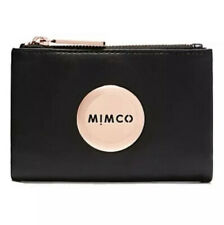 MIMCO Black Fold Wallet MIM Petite Leather Purse BNWT Rosegold Authentic RRP$149