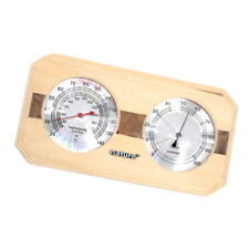 Wooden Hygrothermograph Thermometer Hygrometer Dual Dial for Sauna Room Bathroom