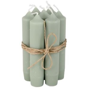 Set of 6 Short Dinner Dusty Green Candles by Ib Laursen