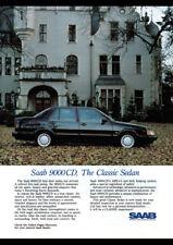 "1989 SAAB 9000 CD AD A3 CANVAS PRINT POSTER FRAMED 16.5""x11.7"""