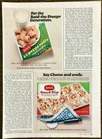 1970 Jeno's Pizza Rolls and Snack Tray Two-Part PRINT AD Raid Freezer Generation