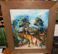 S.JEAN ORIGINAL OIL ON CANVAS HAITIAN CARRYING CARRYING FRUIT PAINTING