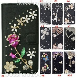 Bling Diamonds Leather Wallet Stand Phone Case With Crystals Strap For ZTE 2