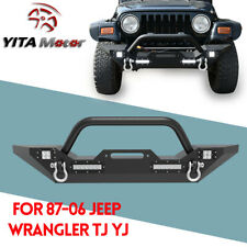 For 87-06 Jeep Wrangler YJ TJ Front Bumper Winch Plate D-Rings & Led Lights