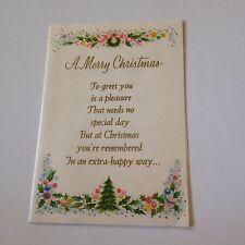 Vintage Greeting Card Christmas Tree Wreath Border Pink Rust Craft