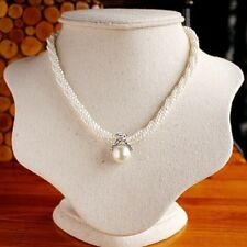 Elegant 3 Strand Twist Pearl Necklace with Diamonte