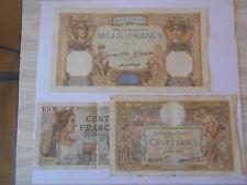 France 2 billets de 100 FRS et 1 billet de 1000 FRS