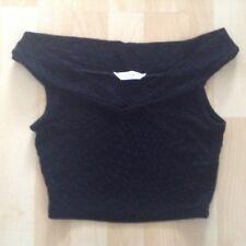 Women's Size 6 Black Stretch Cropped Top By Miss Selfridge