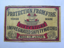 PROTECTION from FIRE SAFETY MATCHES MATCH BOX LABEL c1900 NORMAL SIZE RARE JAPAN