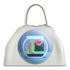 Black Cat Staring at Betta Fish Bowl White Metal Cowbell Cow Bell Instrument