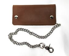 Credit Card Biker Wallet with Chain - Pull Up Leather