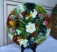Assiette Ancienne Barbotine Fleurs et Fraises des bois
