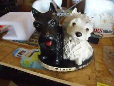 ANTIQUE BLACK & WHITE SCOTCH DOG LIQUOR BAR STATUE