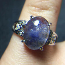 The World's Only gift Rare Natural Blue Dumortierite Crystal ring  18121018