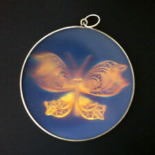 """9ct Yellow Gold 38mm Retro """"Butterfly"""" Hologram Pendant"""