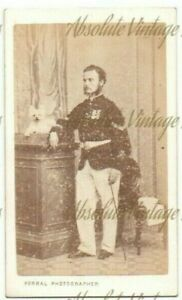 MILITARY CDV PHOTO SOLDIER WITH MEDALS & SMALL DOG PORRAL STUDIO GIBRALTAR C1870