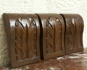3 Victorian acanthus carving corbel bracket Antique french architectural salvage
