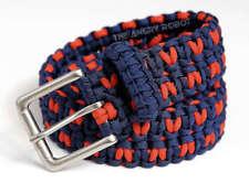 Paracord Belt - Navy Blue & Burnt Orange V with Matte Nickle Buckle - S M L XL