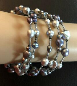 """Freshwater Pearl Bracelet Peacock Gray Blue Purple Memory Wire Wrap 41"""" #1649"""