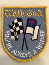 Vintage Religious Patch NOS With God You're  Always A Winner 70s Jesus Christian