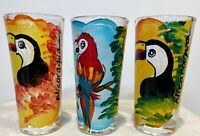Set of 3 - Vintage Hand Painted Toucan Bird Tall Shot Glasses From Nicaragua