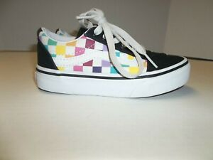 Missy/Kids US Size 11 Vans Off The Wall Multi Checkerboard Skate Shoes Sneakers